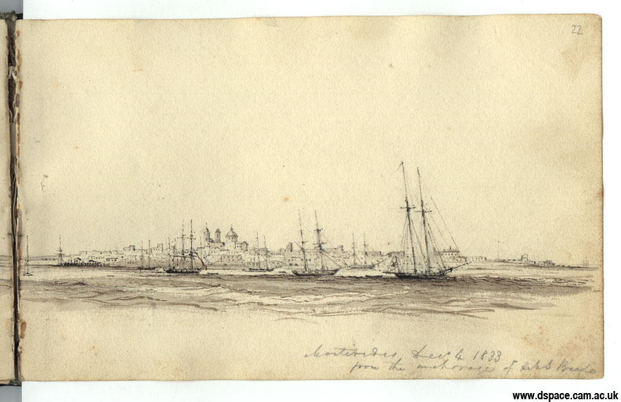 Montevideo from the anchorage of H.M.S. Beagle