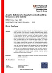 Analytic Solutions for Supply Function Equilibria: Uniqueness and Stability