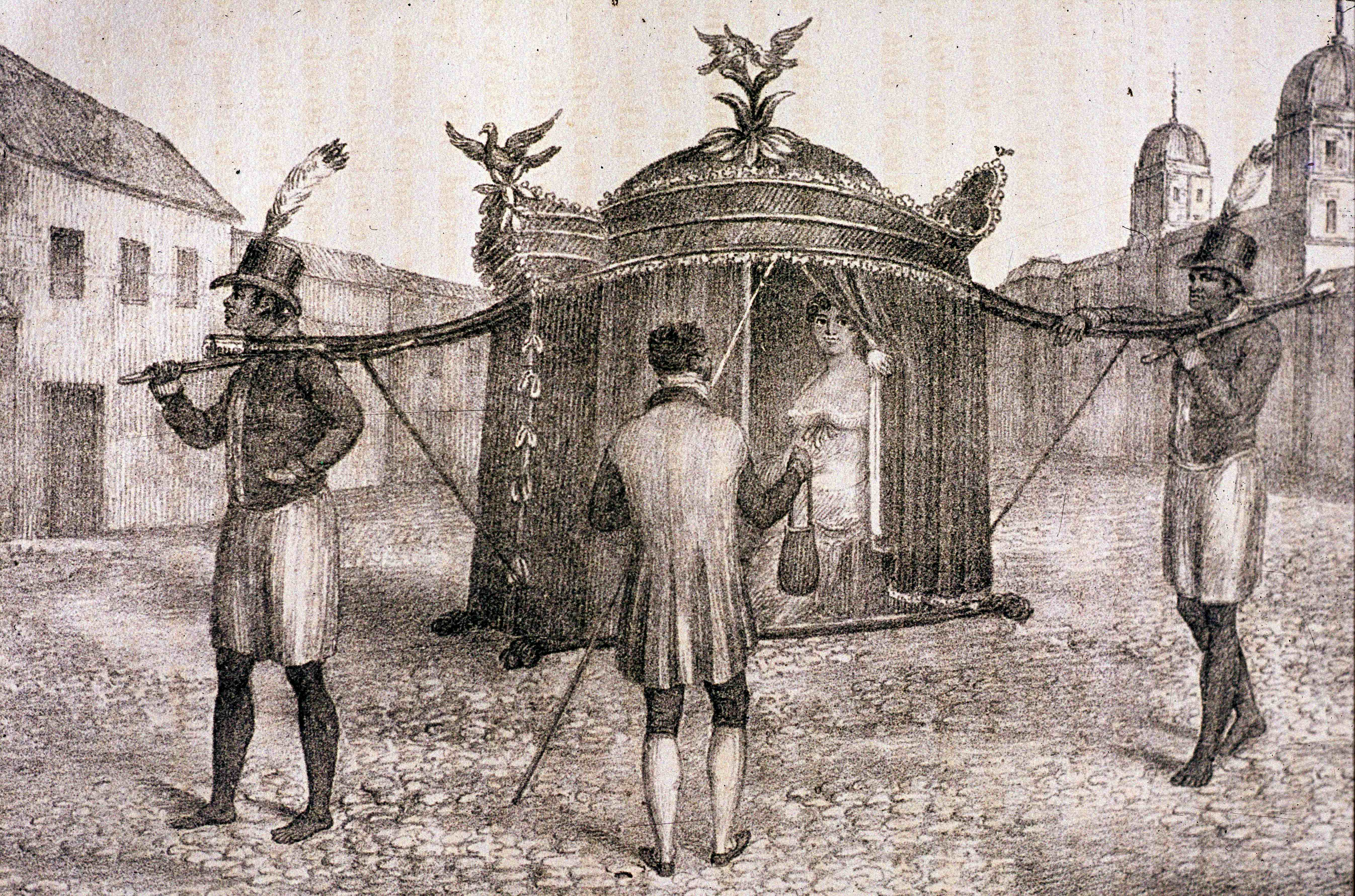 A Brazilian Sedan Chair And A Person Begging For The Church