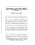 Global modes, receptivity, and sensitivity analysis of diffusion flames coupled with duct